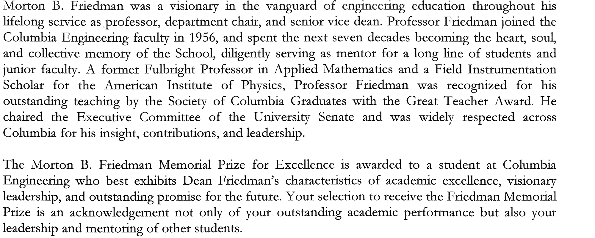 M. B. Friedman Prize description